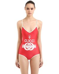 Gucci - Logo Printed Shiny Lycra Swimsuit - Lyst