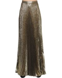 Saint Laurent - Plisse Lurex Jacquard Long Skirt - Lyst