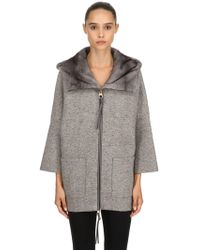 Agnona - Hooded Mink Fur & Cashmere Short Coat - Lyst