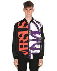 Versus - Belts & Logo Printed Nylon Bomber Jacket - Lyst