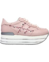 Hogan   70mm Maxi 222 Embroidery Leather Sneaker   Lyst