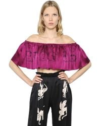 Claire Barrow | Cropped & Ruffled Printed Satin Top | Lyst