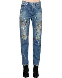 2ab0672d762 Lyst - Free People Womens Vintage Paint Splattered Dickie S Denim ...