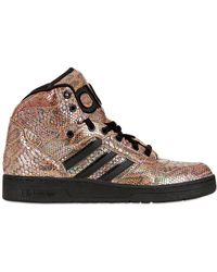 580db3e9436 Jeremy Scott for adidas - Python Printed Leather High Top Trainers - Lyst