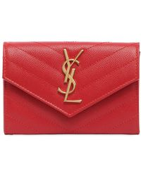 Saint Laurent - Small Monogram Grained Leather Wallet - Lyst