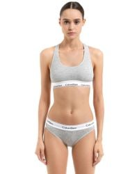 Calvin Klein - Logo Band Cotton Jersey Sports Bra - Lyst