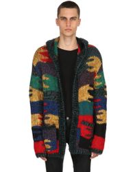 Saint Laurent - Camouflage Wool Blend Jacquard Cardigan - Lyst