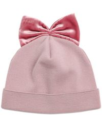 Federica Moretti - Ribbed Wool Hat With Velvet Bow - Lyst