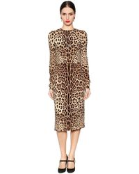 Dolce & Gabbana - Leopard Printed Stretch Silk Cady Dress - Lyst