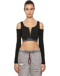 Alexander Wang - Lace-up Cotton Cropped Top - Lyst