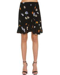 Ganni - Printed Ruffled Georgette Mini Skirt - Lyst