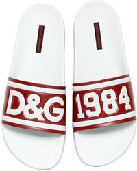 Dolce & Gabbana - Slippers In Printed Rubber And Calfskin - Lyst