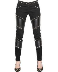 Emanuel Ungaro - Studded Faux Leather & Denim Pants - Lyst