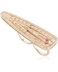 Marco Dal Maso - Amaia Rose Gold Double Finger Ring - Lyst