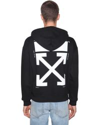 Off-White c/o Virgil Abloh - Printed Kiss Cotton Jersey Hoodie - Lyst