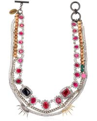 Venna - Spiked Swarovski Crystal Necklace - Lyst