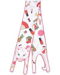 Cléo Ferin Mercury | Stickers Cat Printed Silk Twill Scarf | Lyst
