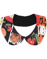 Cléo Ferin Mercury - Animal Stickers Silk Twill Collar - Lyst