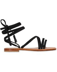 Capri Positano - 10mm Lace-up Suede Sandals - Lyst
