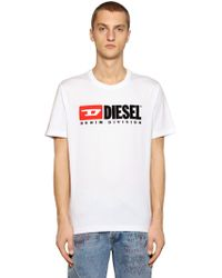 DIESEL - 90's Logo Embroidered Jersey T-shirt - Lyst