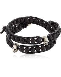 Colana - Steel Skull & Lava Beads Bracelet - Lyst
