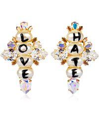 Bijoux De Famille - Love & Hate Cross Earrings - Lyst