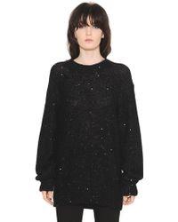 Saint Laurent - Oversized Mohair & Silk Glitter Sweater - Lyst