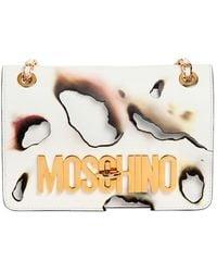 Moschino - Medium Logo Lettering Burned Leather Bag - Lyst
