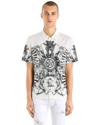 Just Cavalli - Stretch Light Canvas Short Sleeve Shirt - Lyst