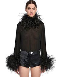 Saint Laurent - Silk Georgette Top W/ Feathers - Lyst