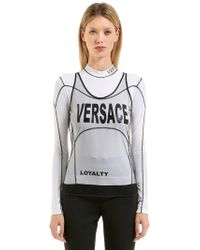Versace - Stretch Jersey T-shirt W/ Tulle Tank Top - Lyst