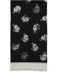 Lanvin Logo Print Wool Blend Scarf - Black