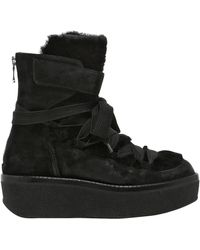 Janet & Janet | 60mm Suede & Shearling Wedge Boots | Lyst