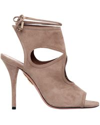 Aquazzura - 105mm Sexy Thing Lace-up Suede Booties - Lyst