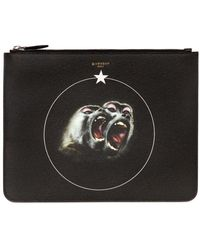 Givenchy - Large Monkeys Faux Leather Pouch - Lyst