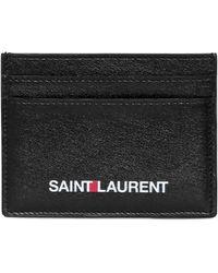 Saint Laurent - Porta Carte Di Credito In Pelle Stampa Logo - Lyst
