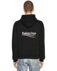 Balenciaga - Political Logo Hooded Cotton Sweatshirt - Lyst