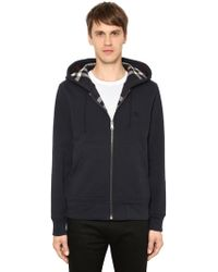 Burberry - Zip-up Cotton Sweatshirt W/ Check Lining - Lyst