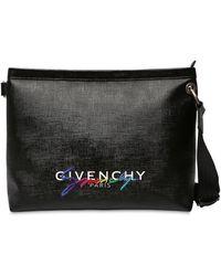 Givenchy Sacoche En Toile Enduite Avec Logo - Noir