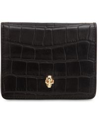 Alexander McQueen - Small Croc Embossed Leather Coin Wallet - Lyst