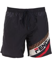 Fendi - Fila Logo Swim Shorts - Lyst