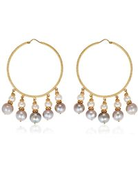 Carolina Bucci - Medium Hoops W/ Pearls - Lyst
