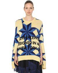 CALVIN KLEIN 205W39NYC - Open Sleeves Wool Intarsia Sweater - Lyst