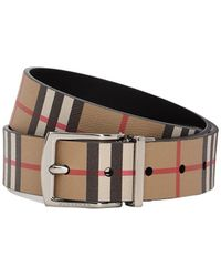 Burberry - Cintura In Pelle Check - Lyst