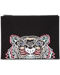 KENZO - Tiger Embroidered Nylon Pouch - Lyst