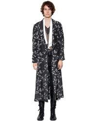 Ann Demeulemeester - Extra Long Printed Viscose Kimono Coat - Lyst