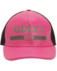 Gucci Gorra De Piel Con Logo Vintage - Rosa