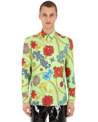 Versace - Hemd Aus Seidentwill Mit Druck - Lyst