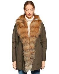 Forte Couture | Bella Red Fox Fur & Cotton Canvas Coat | Lyst