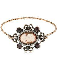 Alcozer & J - Ladies Portrait Garnet Bangle Bracelet - Lyst